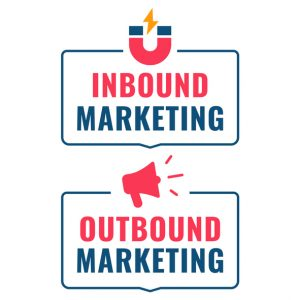 Megaphone representing outbound marketing, magnet representing inbound marketing.